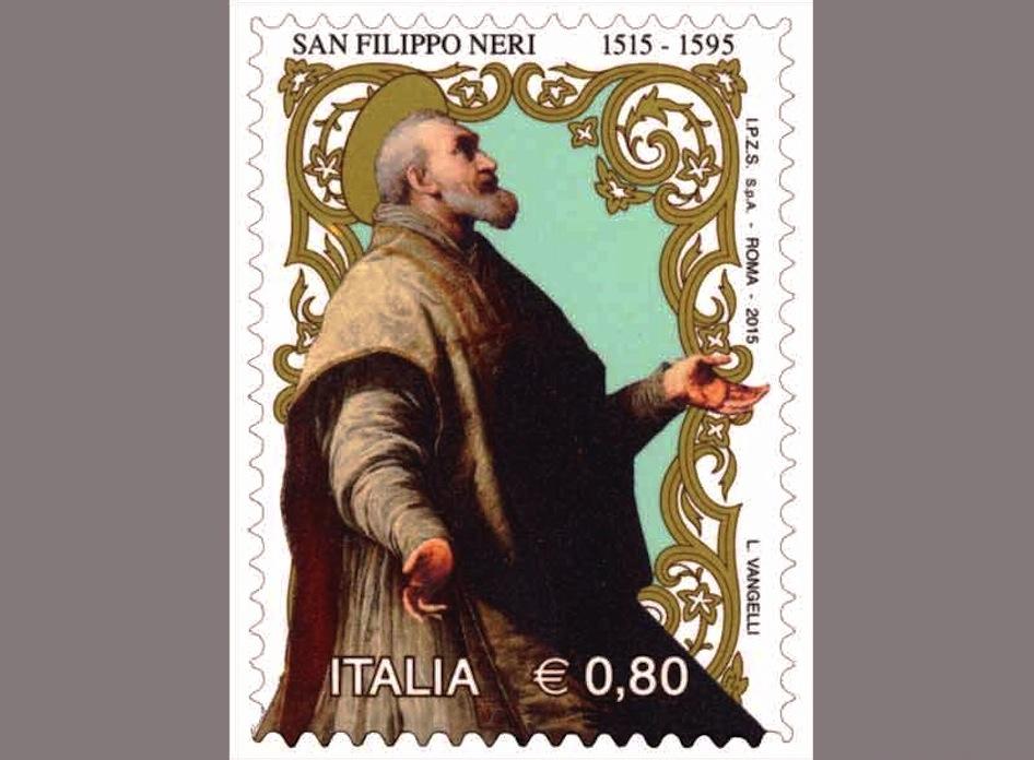 Estampilla postal italiana conmemorativa de san Felipe Neri