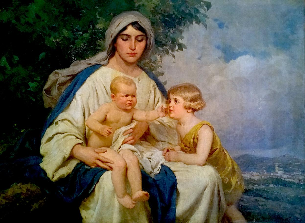 María con Jesús y Juan Bautista - Achille Beltrame -