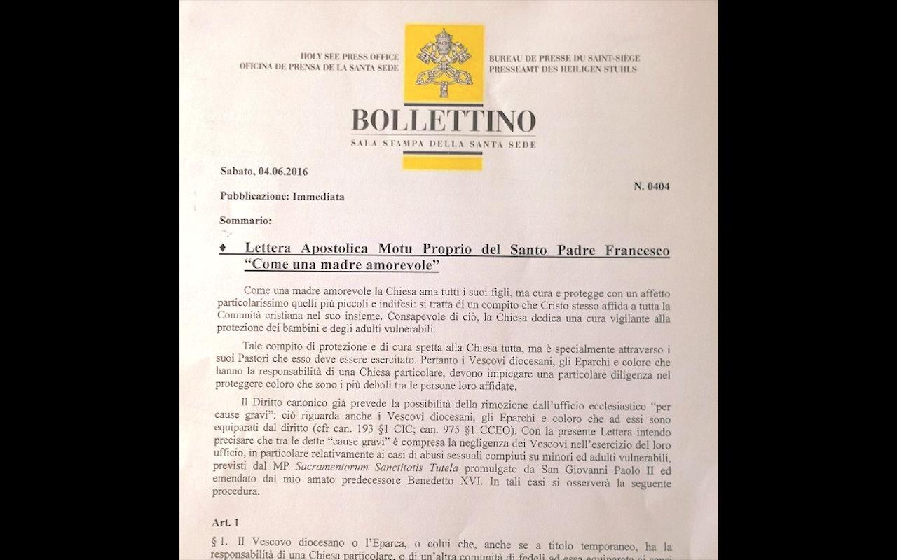 La carta apostólica presentada en la Sala de Prensa del Vaticano