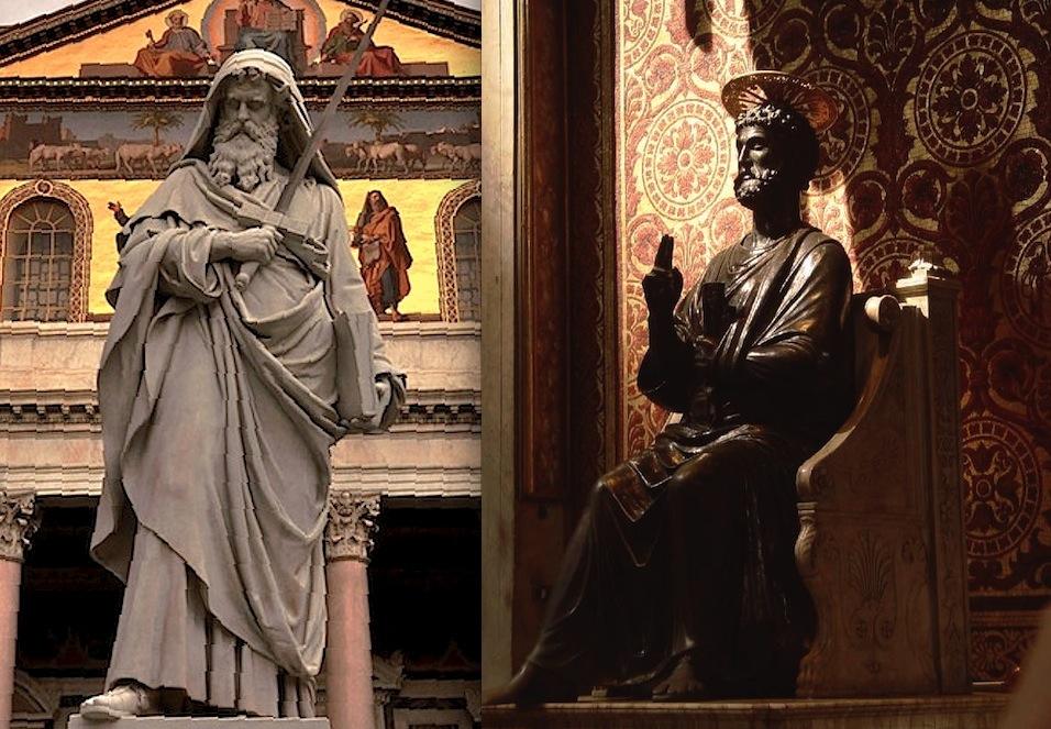 Imagen de san Pedro y de san Pablo en las respectivas basílicas pontificias de Roma