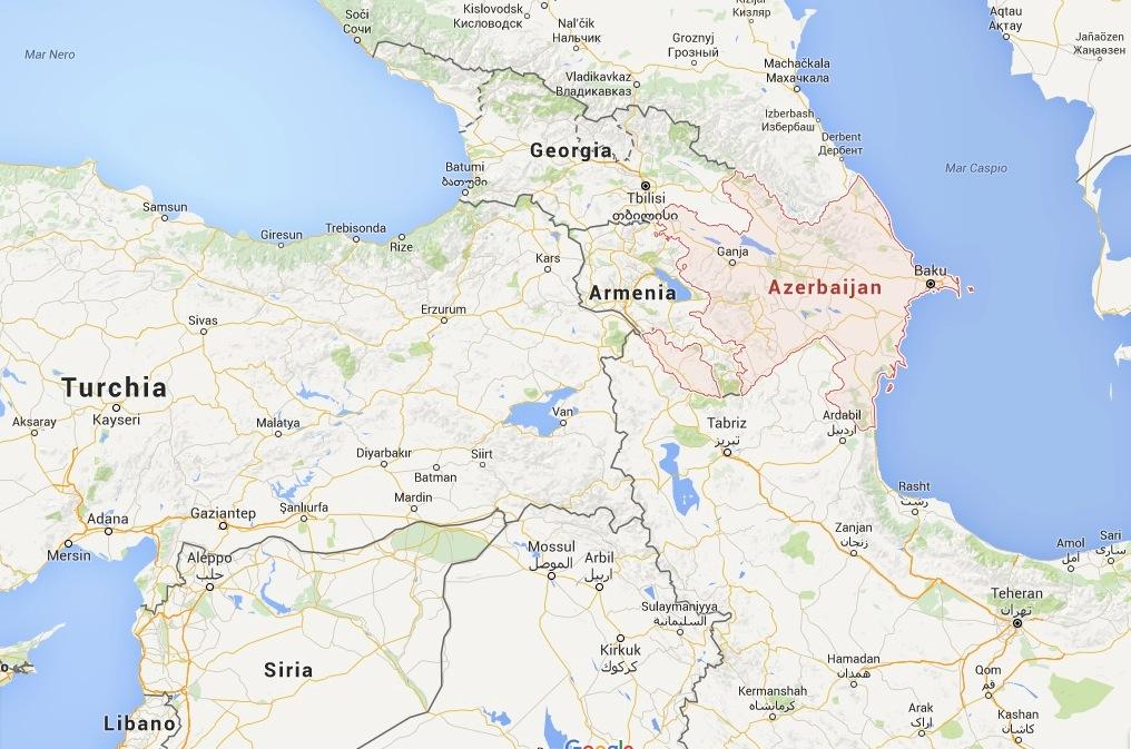 Georgia y Azerbaiyán (Mapa Goolge)