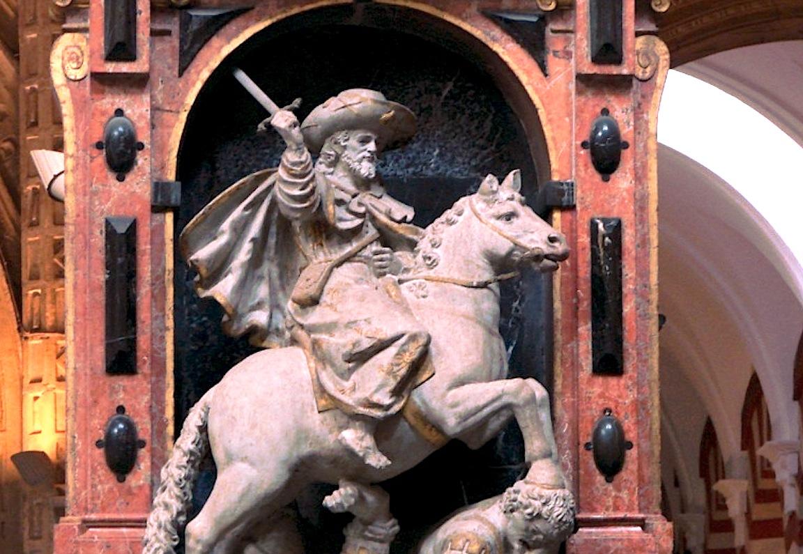 A Santiago el Mayor se le atribuye haber aparecido en diversas batallas. (Catedral de Córdoba - Wiki commons Marshall Henrie)