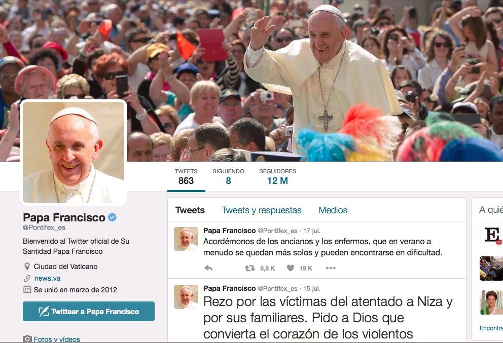 El papa francisco en Tweeter