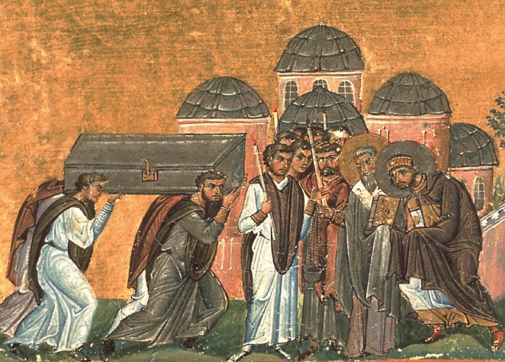 Translación de las reliquias de San Crisóstomo en la iglesia de los Santos Apóstoles. Miniatura del Menologion de Basilio II. (Wiki commos)