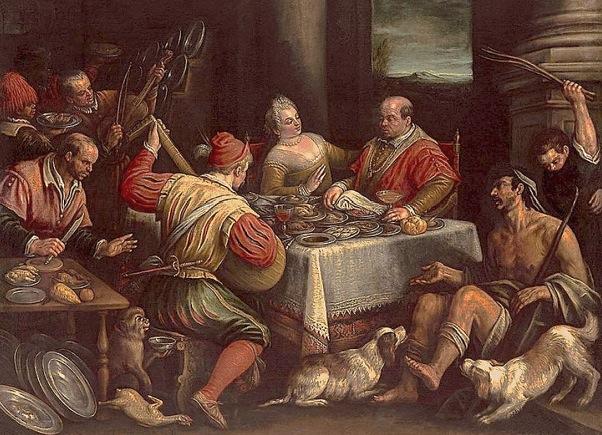 Lazaro y el mendigo - El rico y Lázaro - Leandro Bassano - Venecia 1595