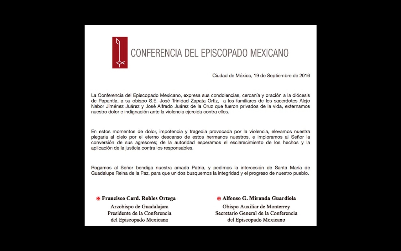 Mensaje de luto de los obispos mexicanos