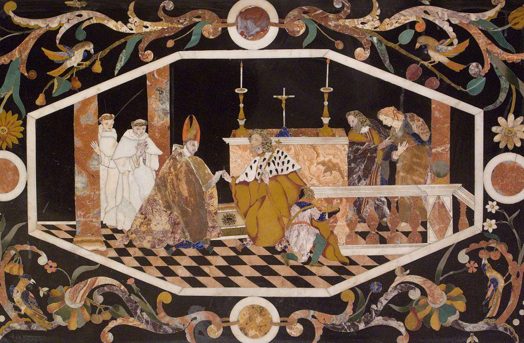 San Bartolomé recibe de san Luis rey de Francia la espina de la corona de Jesús (wikicommons - claudio-gioseffi)