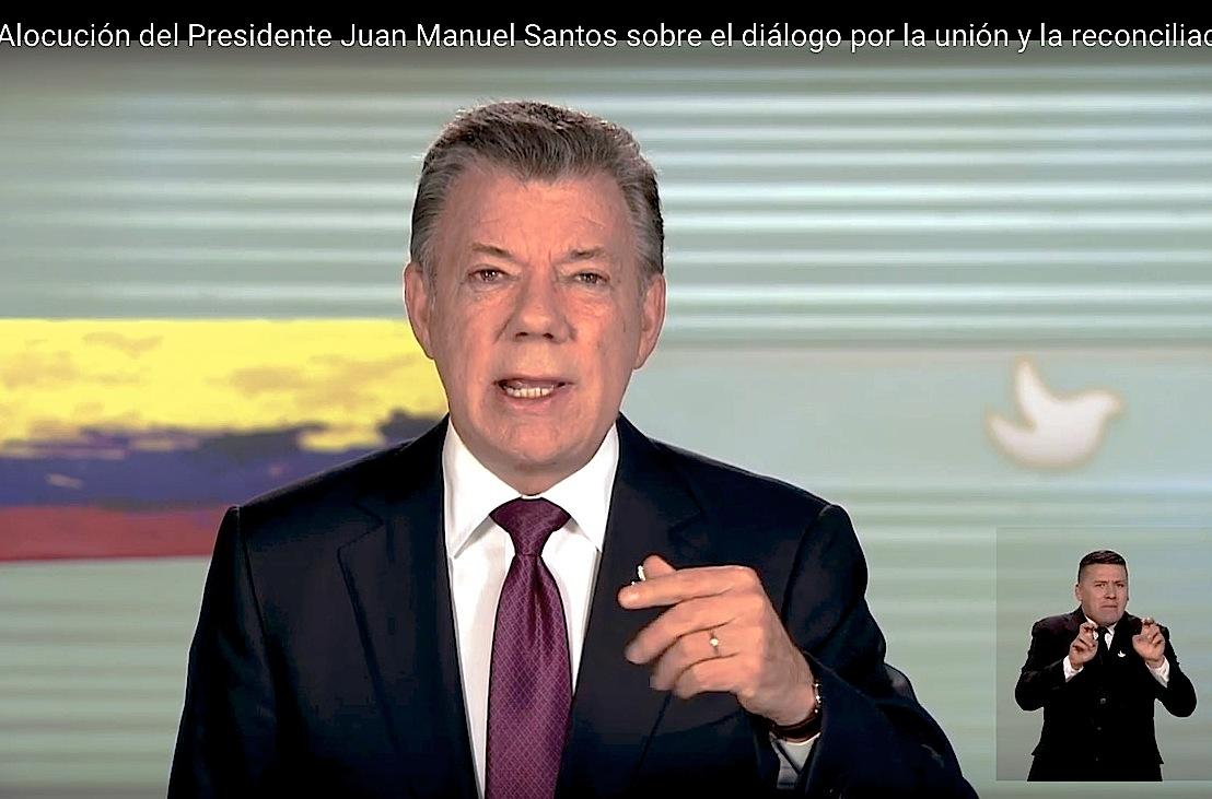 El presidente Juan Manuel Santos en directa al país. (Frame youtube, sitio presidencial)