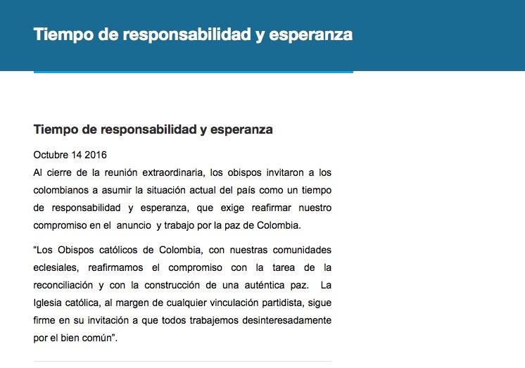 Comunicado de los obispos de Colombia