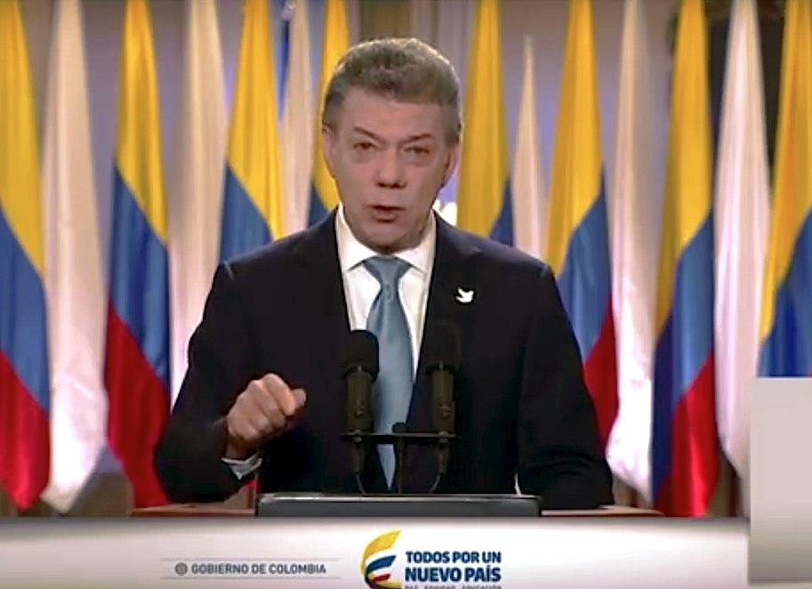 El presidente Santos anuncia un nuevo acuerdo de paz con las Farc (Frame video presidencia)