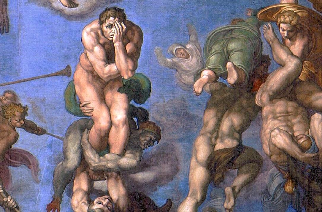 Detalle del Juicio final representado en la Capilla Sixtina - Michelangelo (Wikicommons)
