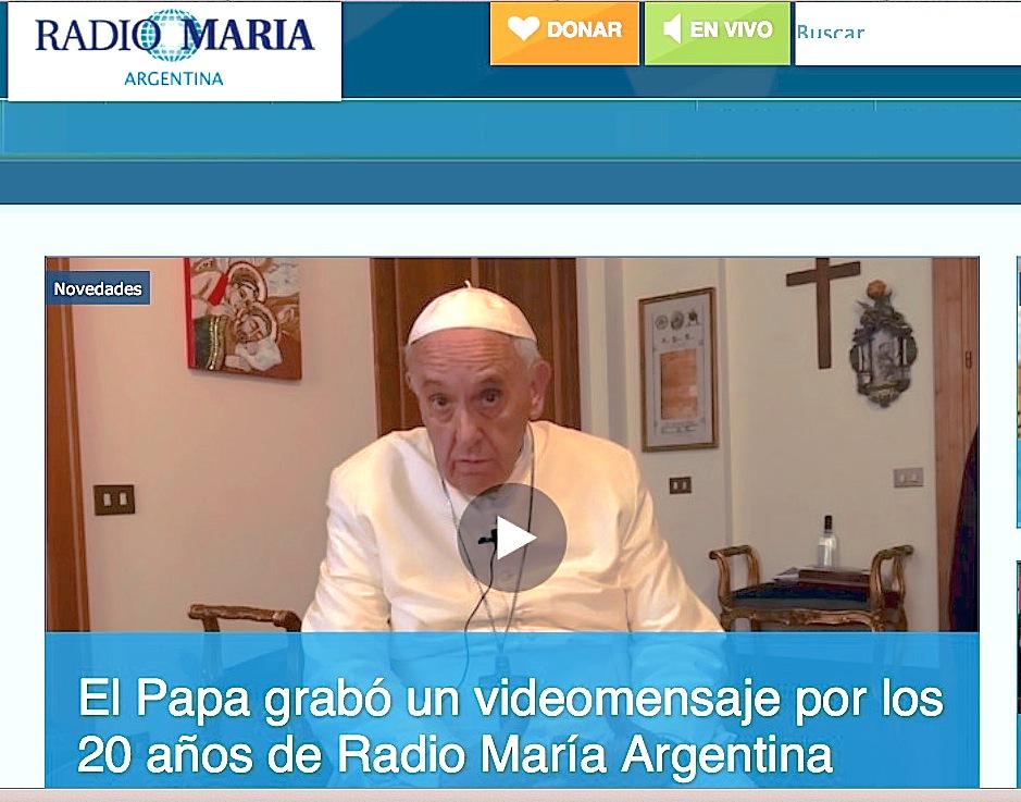 La web de Radio María publica el video con el mensaje del Papa