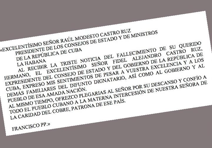 Telegrama del Papa al presidente Raúl Castro