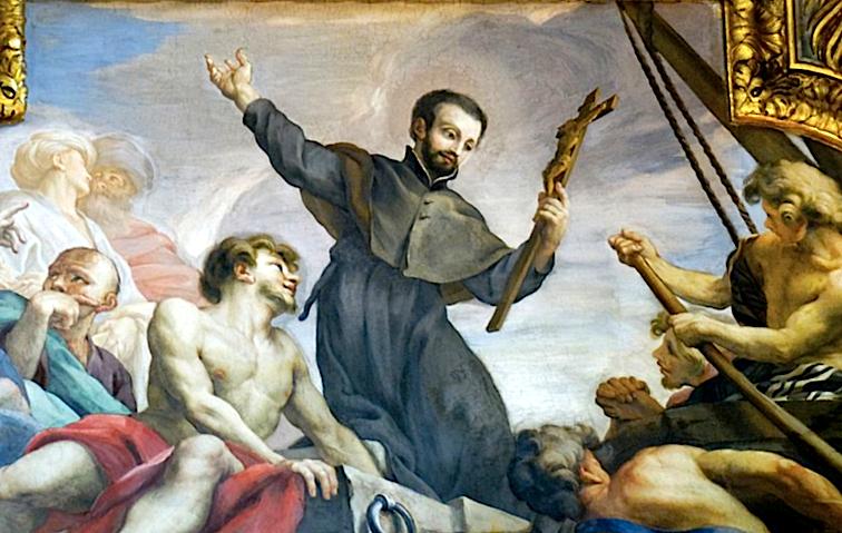 Pintura de san Francisco Javier, en la capilla a él dedicada en la Iglesia del Gesú, en Roma