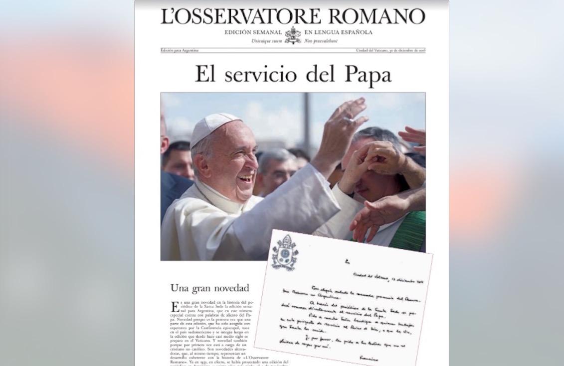 Tapa del primer número del Osservatore Romano para Argentina