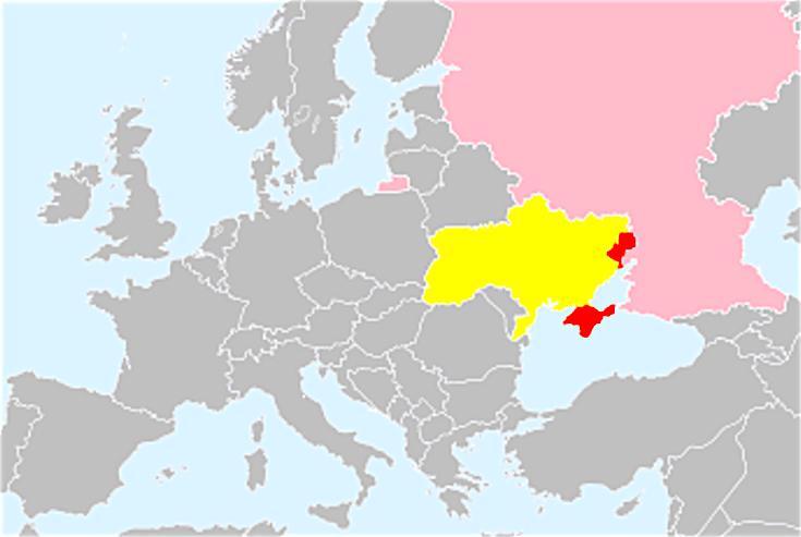 Ucrania y en rojo las zonas de crisis (Wiki commons)
