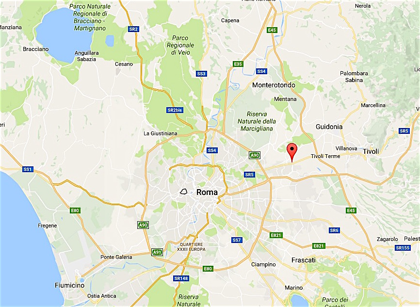 Setteville a 15 kilómetros de Roma, hacia Tívoli (Google Maps)