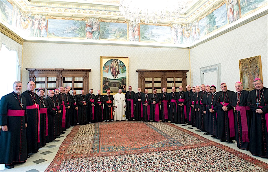 Francisco con los obispos de Chile en visita ad limina (Foto. Osservatore © Romano).