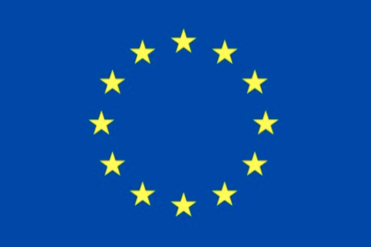 La bandera de la UE con sus 12 estrellas