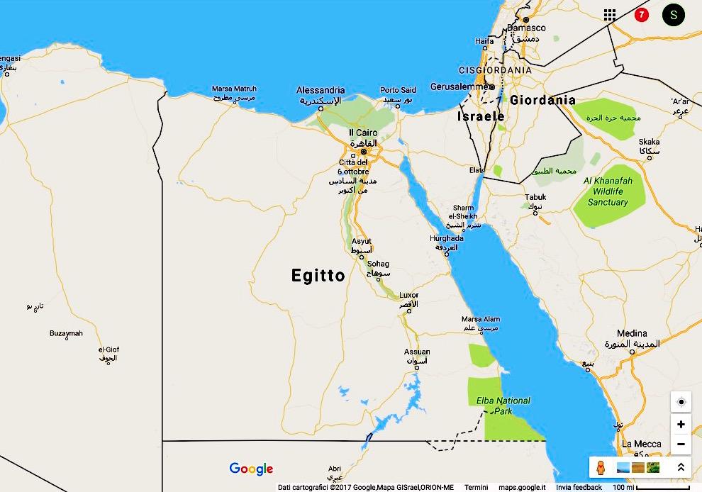 Mapa Egipto (Google)