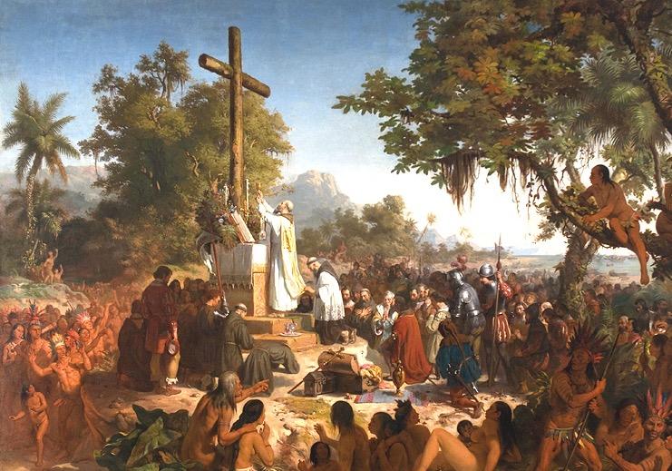 La primera misa en América. Cuadro del pintor Víctor Mirelles