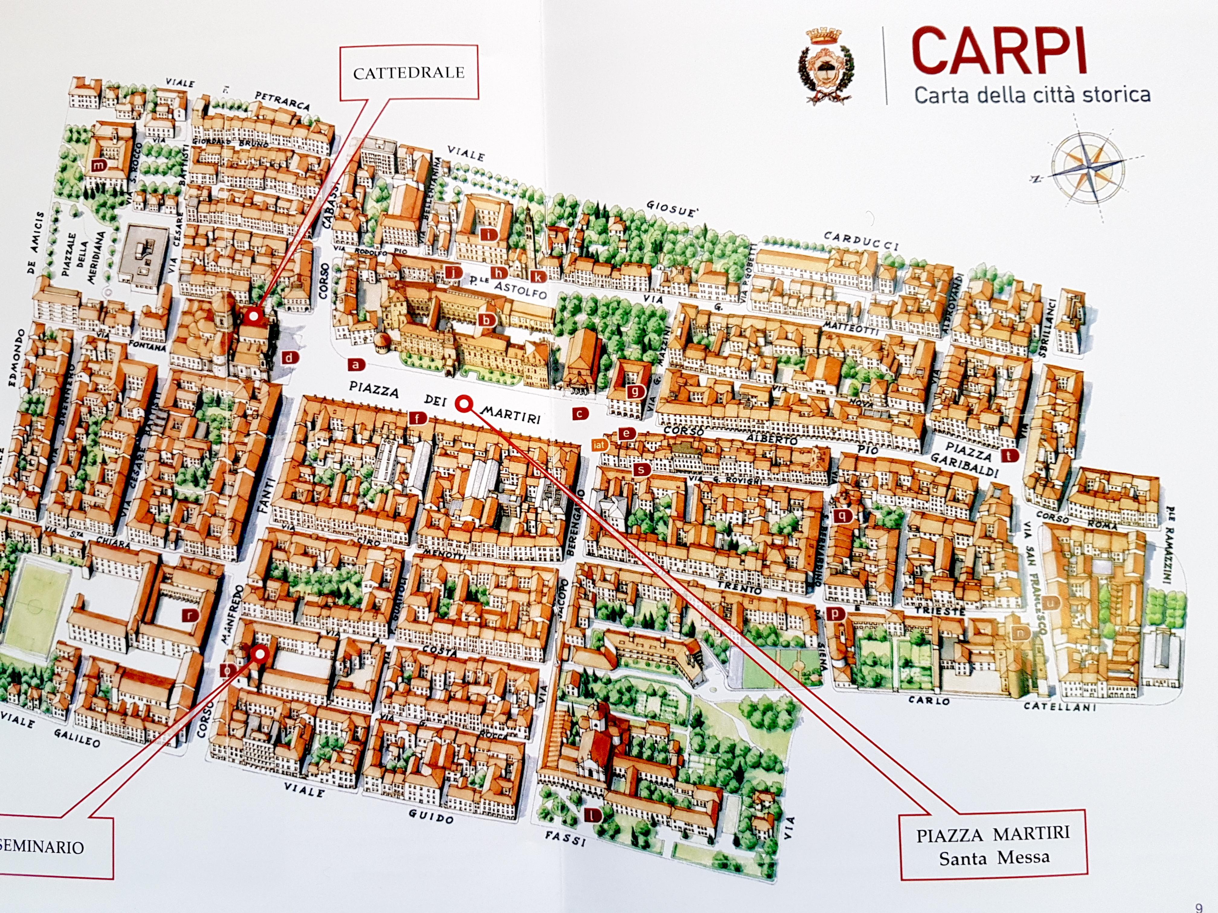 Mapa del centro histórico de Carpi