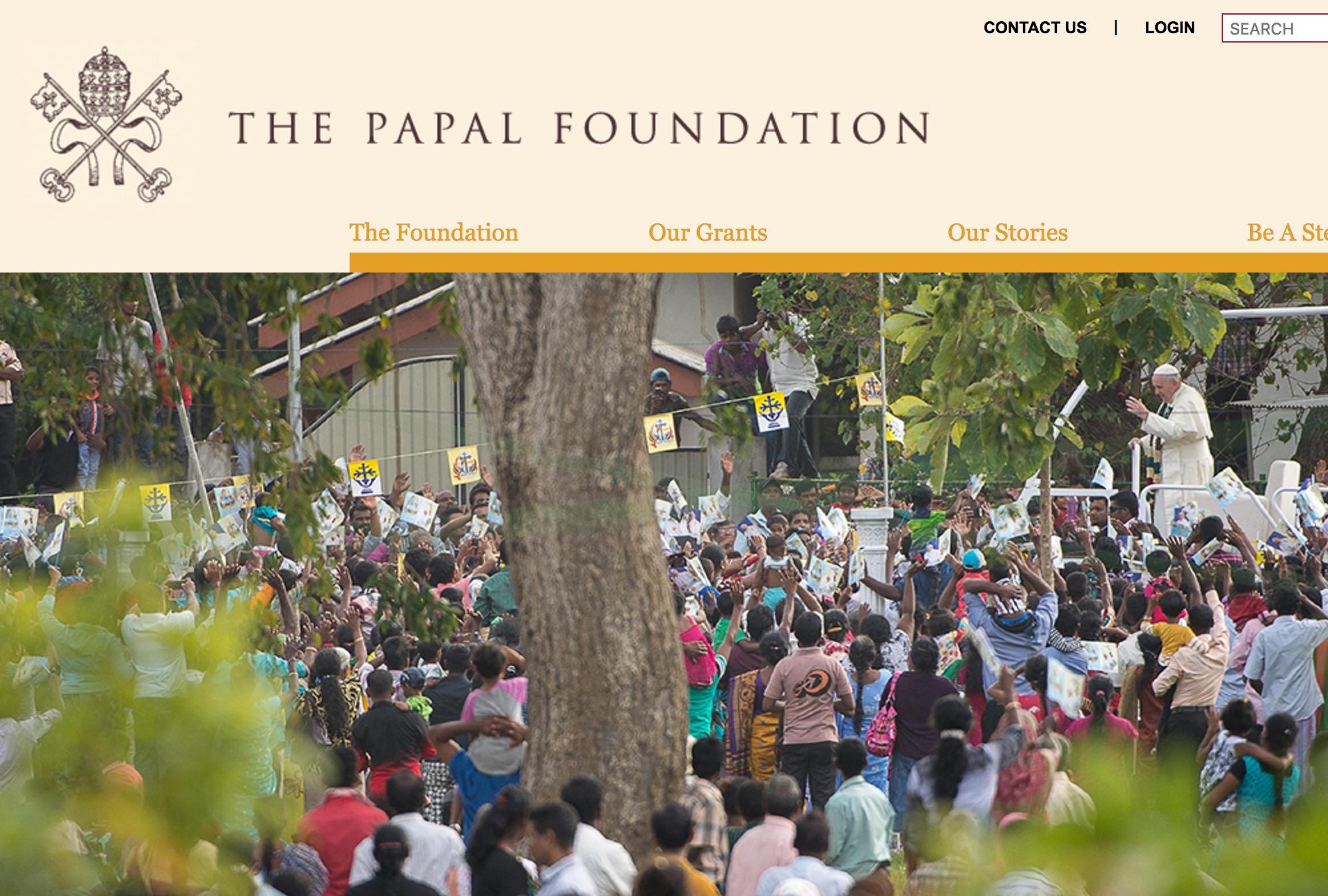 La web de la Papal Foundation