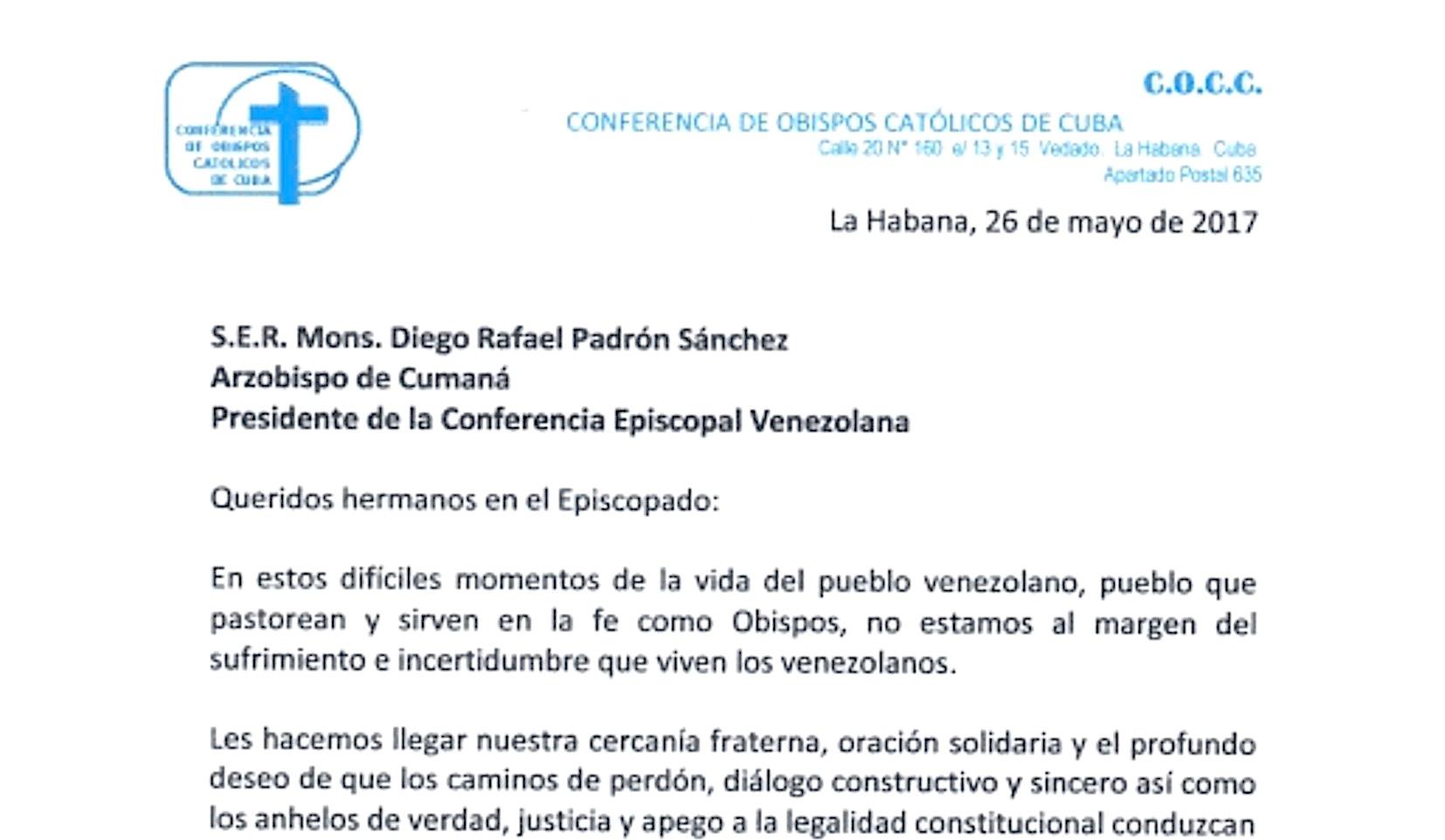 Carta de los obispos de Cuba