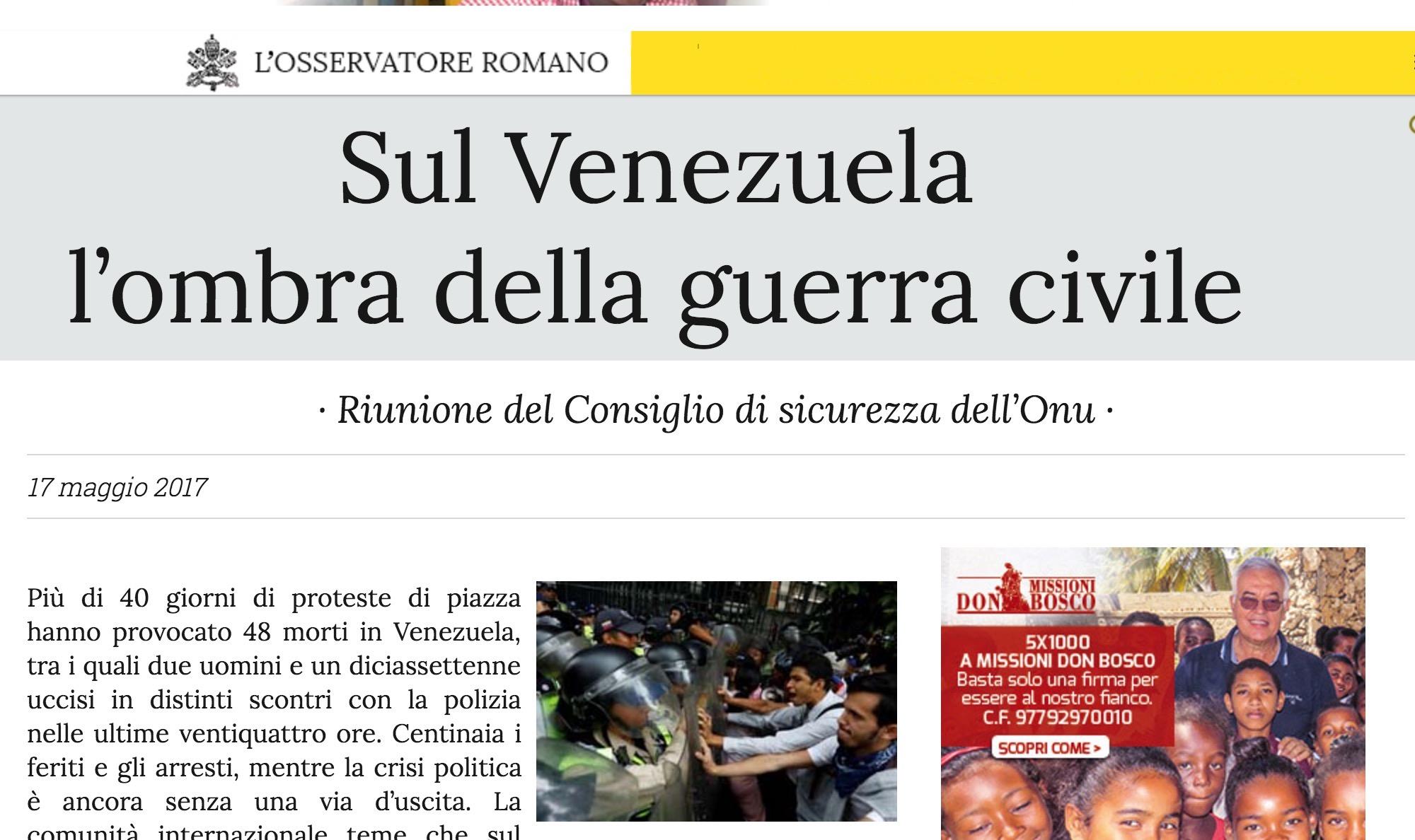 El artículo sobre Venezuela en L'Osservatore Romano