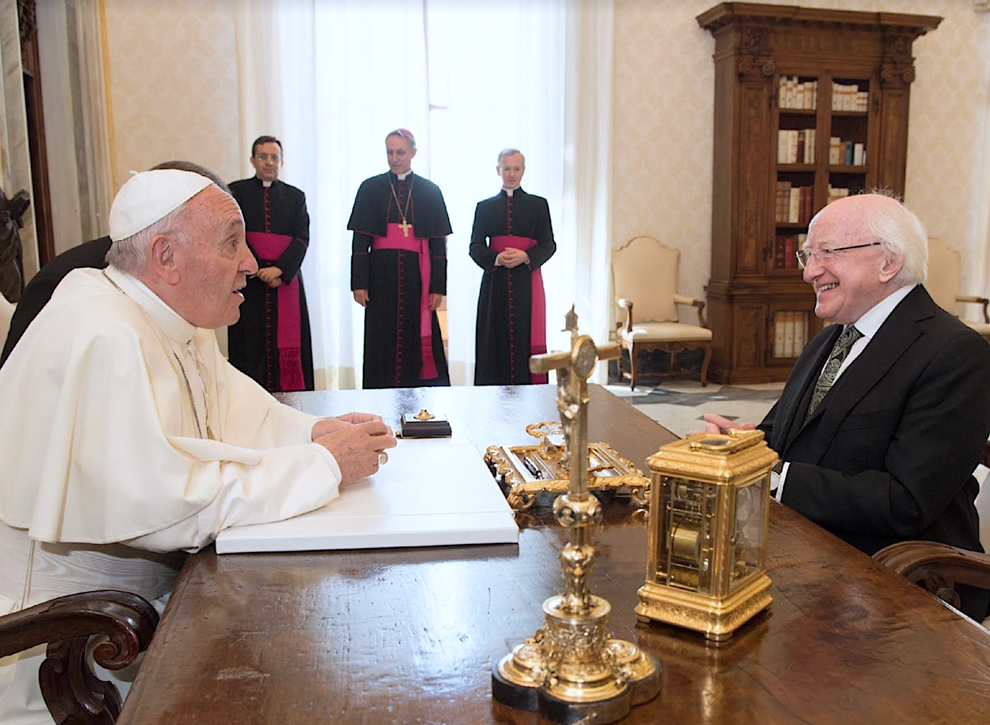 Presidente de Irlanda, Michael Higgins con el Papa (Osservatore © Romano)