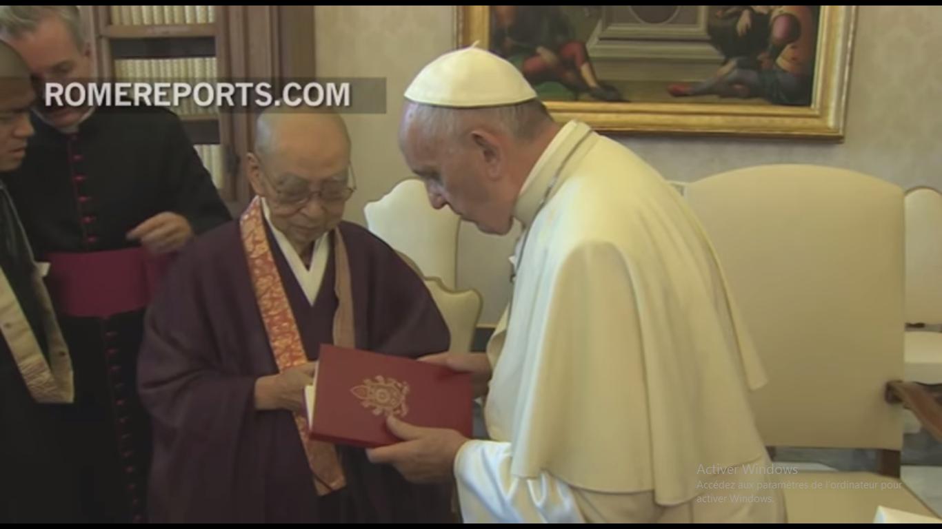 Encuentro del Papa Francisco y el venerable Koei Morikawa en septiembre de 2016 © Rome Reports