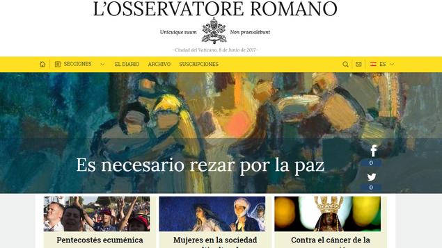 L´Osservatore Romano. Captura de pantalla
