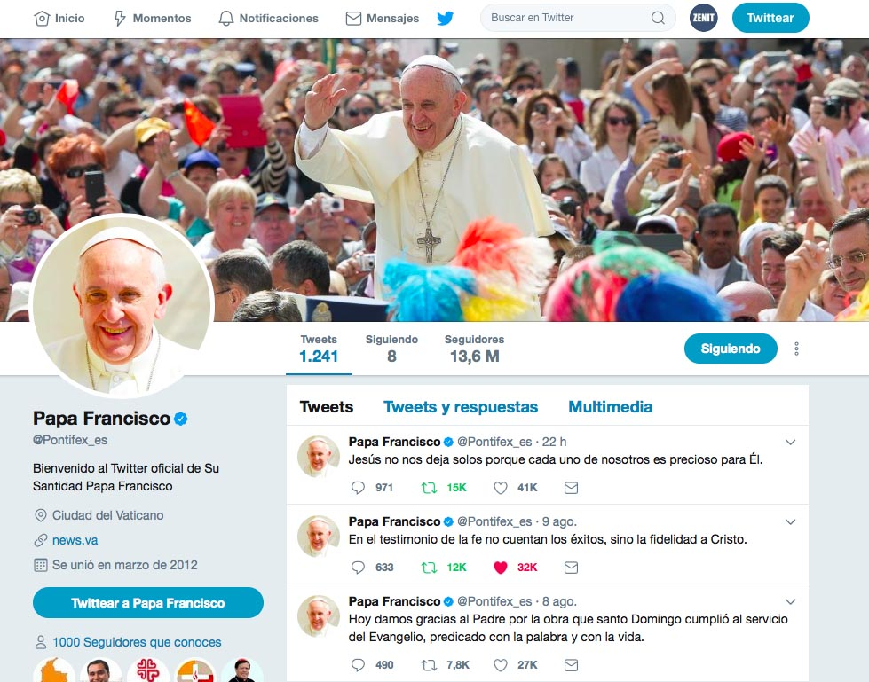 @Pontifex_es Captura de pantalla