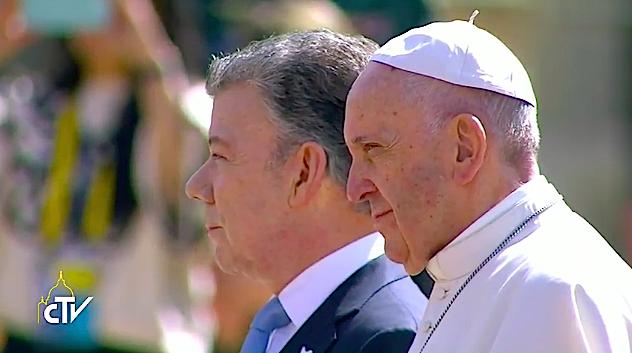 Papa Francisco y Juan Manuel Santos. 07/09/2017. Captura pantalla CTV