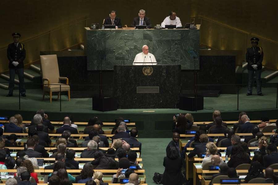Francisco en la sede de la ONU, el 25 de septiembre de 2015. © L'Osservatore Romano
