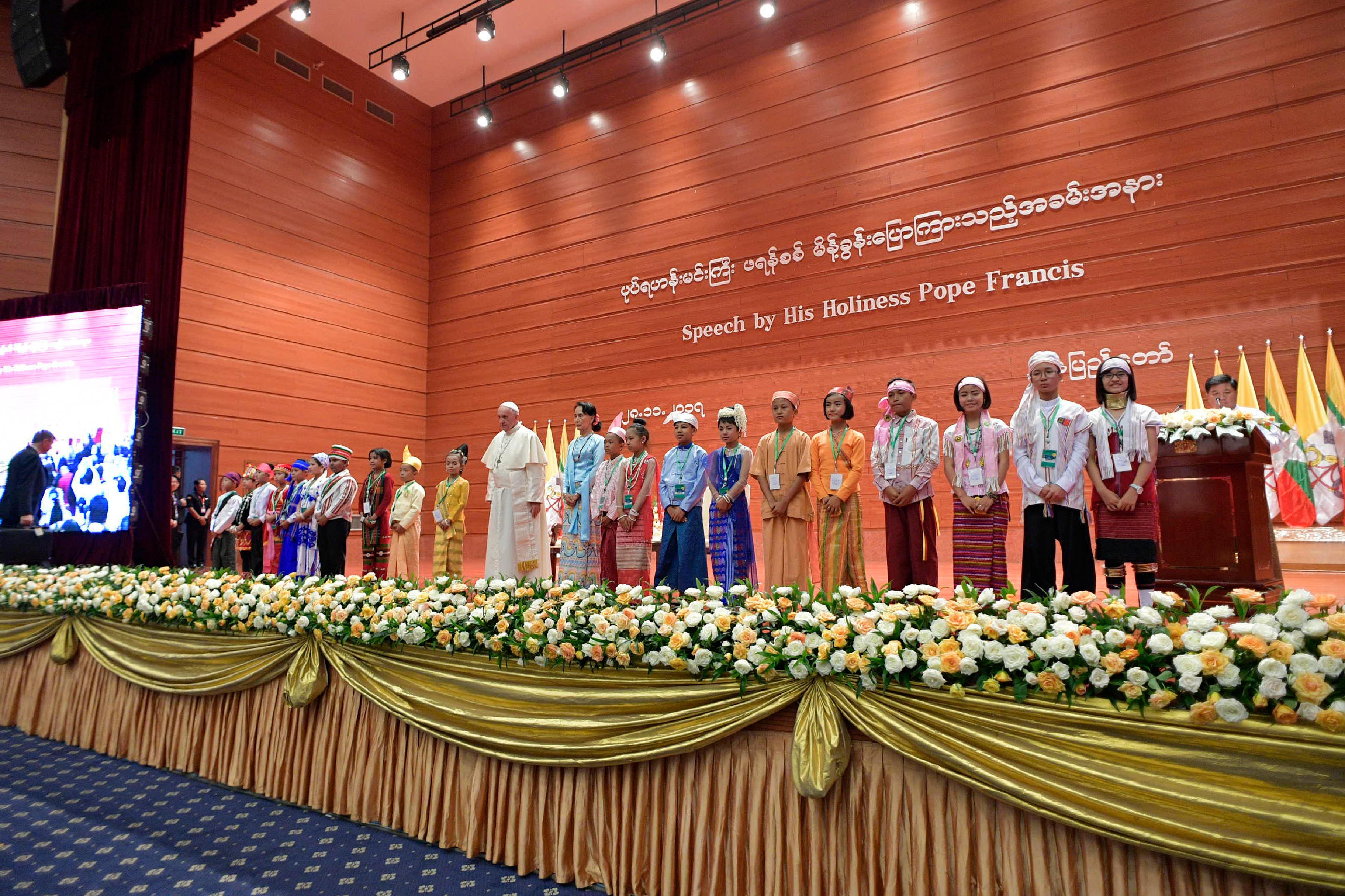 El Papa Francisco en el Centro Internacional de Convenciones de Myanmar © L'Osservatore Romano