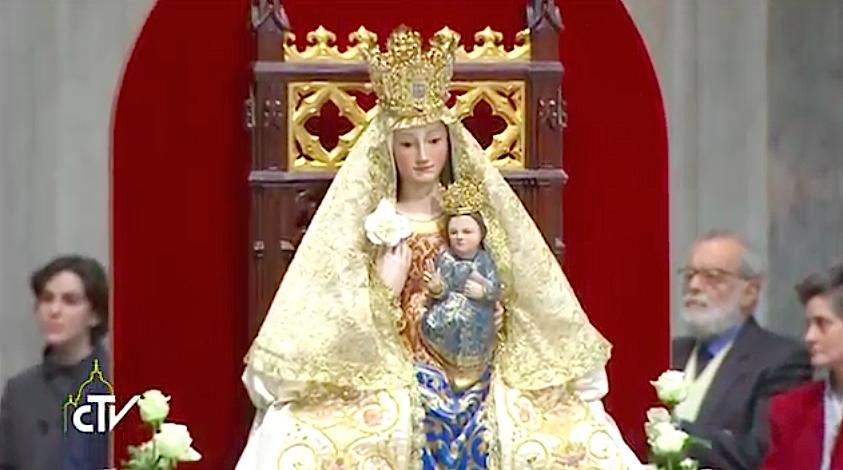 Imagen de la Virgen de Valme (réplica). Captura de pantalla CTV