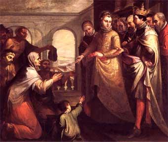 Santa Isabel de Hungría. Óleo de Marcos da Cruz