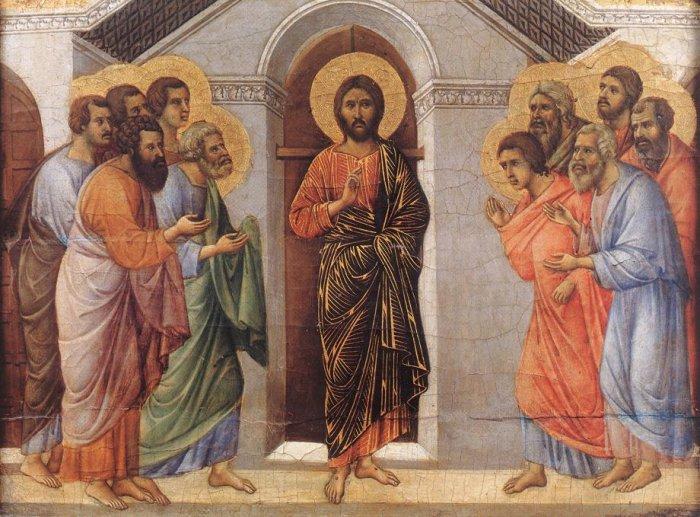 Cristo se aparece a los discípulos. Duccio di Buoninsegna