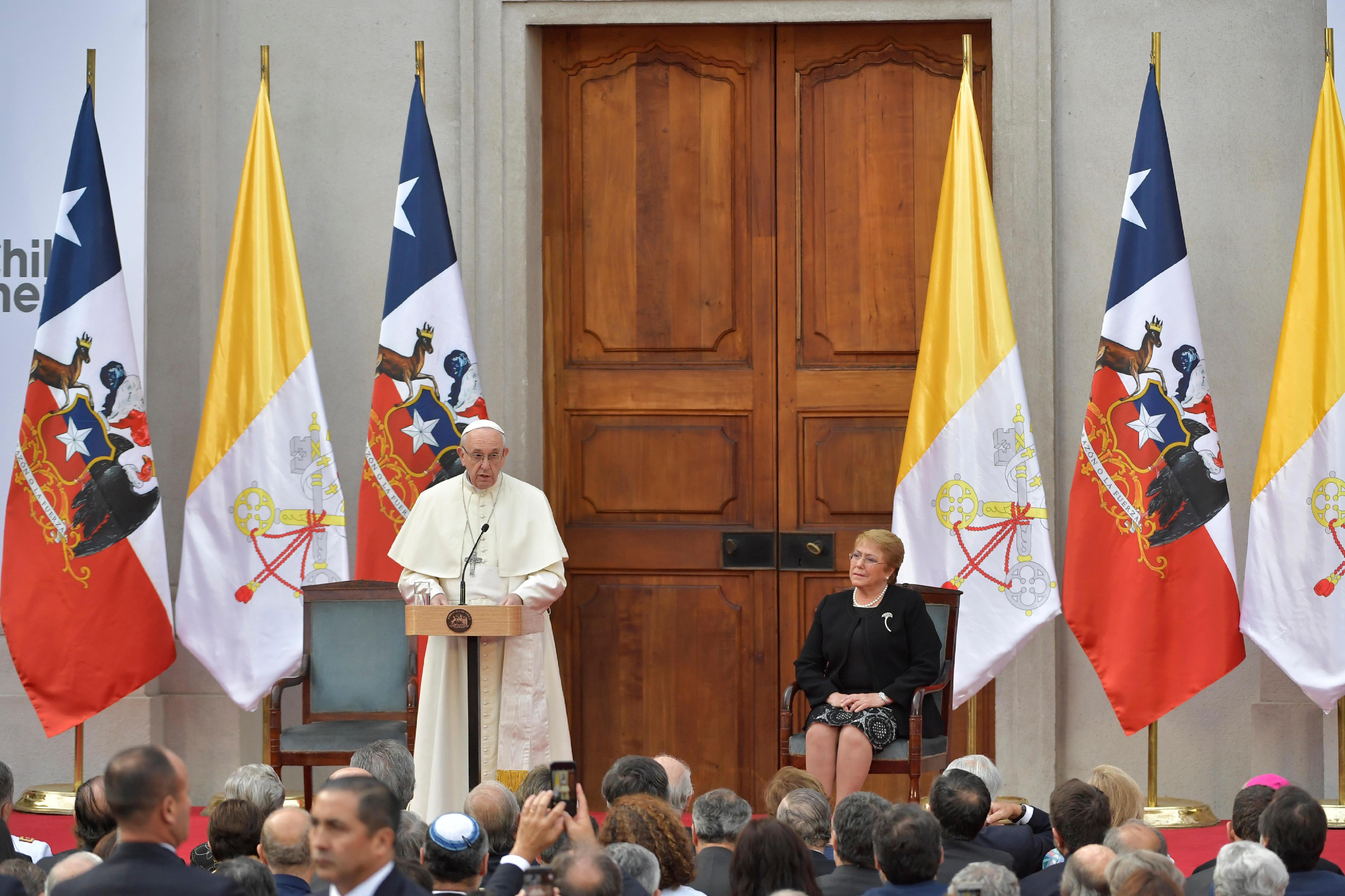 Discurso del Papa Francisco al gobierno, autoridades y cuerpo diplomático de Chile © L'Osservatore Romano