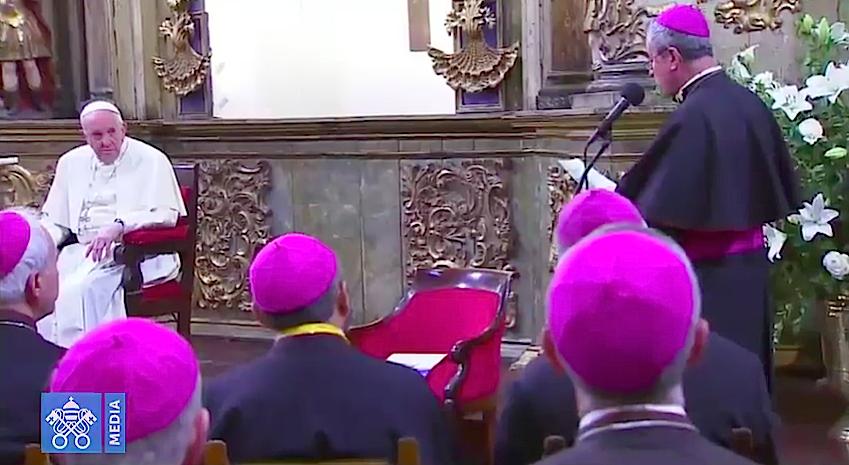 Mons. Santiago Silva saluda al Santo Padre Francisco. Captura Vatican News