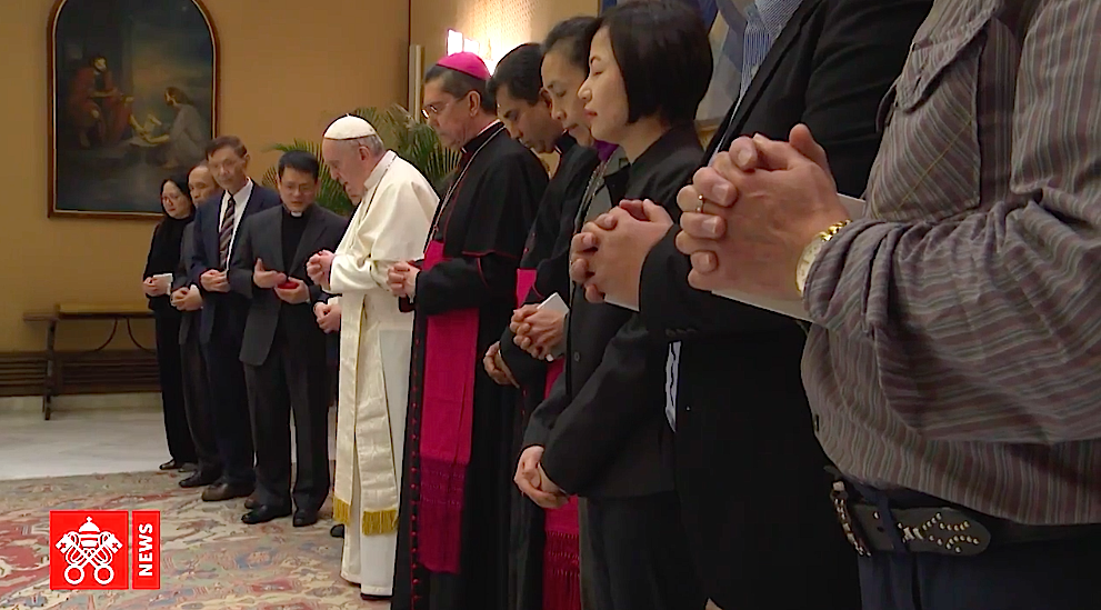 Audiencia del Papa con una delegación taoísta. Captura Vatican Media