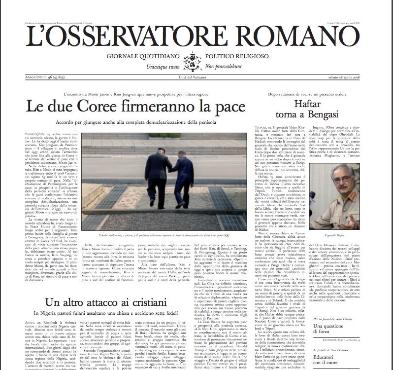 Captura de pantalla L'Osservatore Romano Del 27 De Abril De 2018,