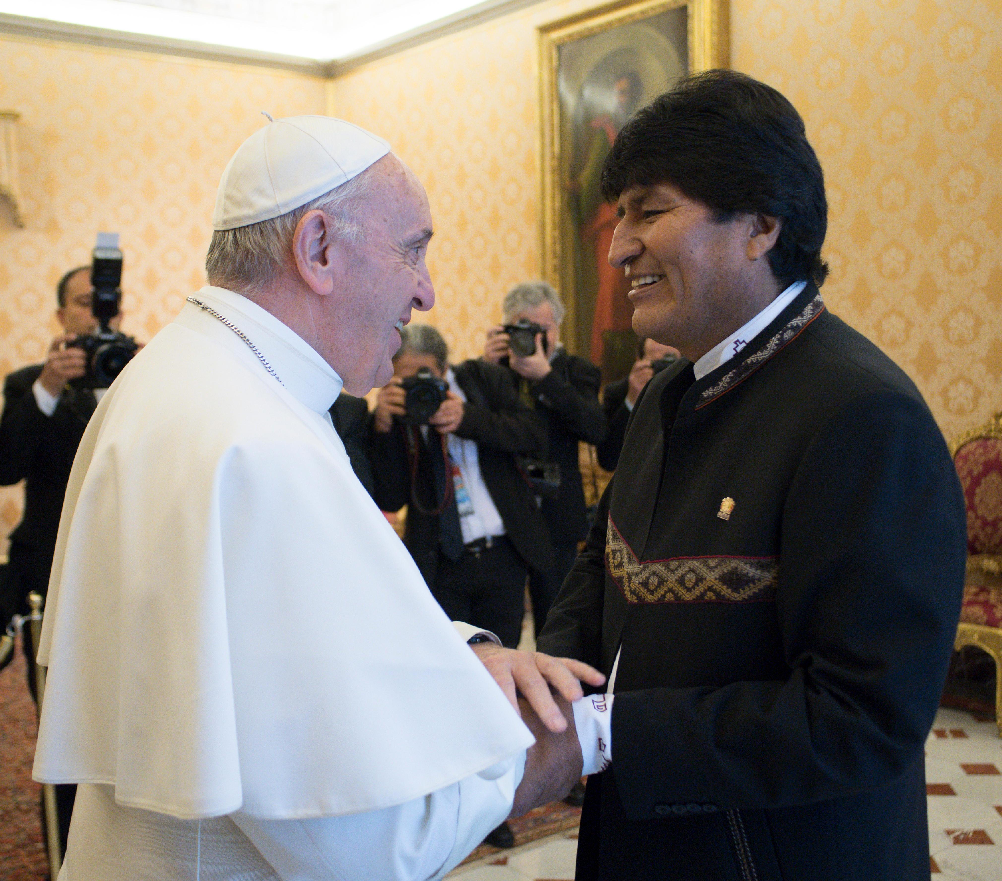 El Santo Padre con el presidente de Bolivia © L'Osservatore Romano