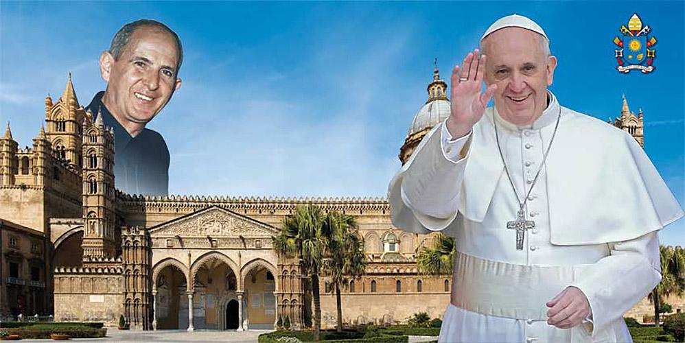 Cartel de la visita papal del Papa a Palermo © www.papafrancescoapalermo.it