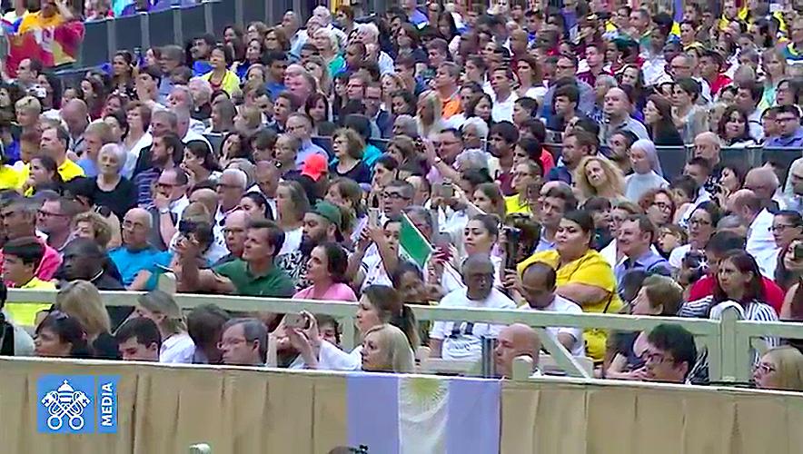 Peregrinos de Latinoamérica en la audiencia general. Captura de pantalla Vatican Media