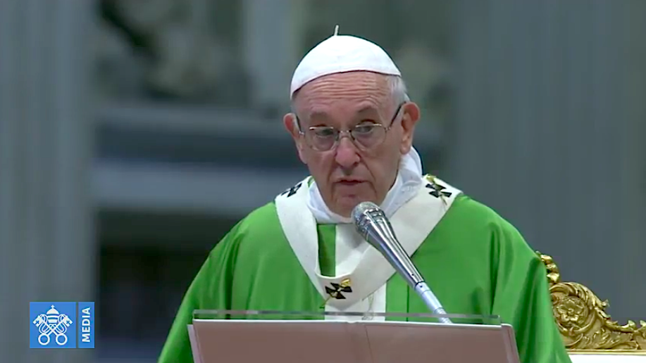 Misa de clausura del Sínodo de los Obipos, 28 oct. 2018. Captura pantalla Vatican Media
