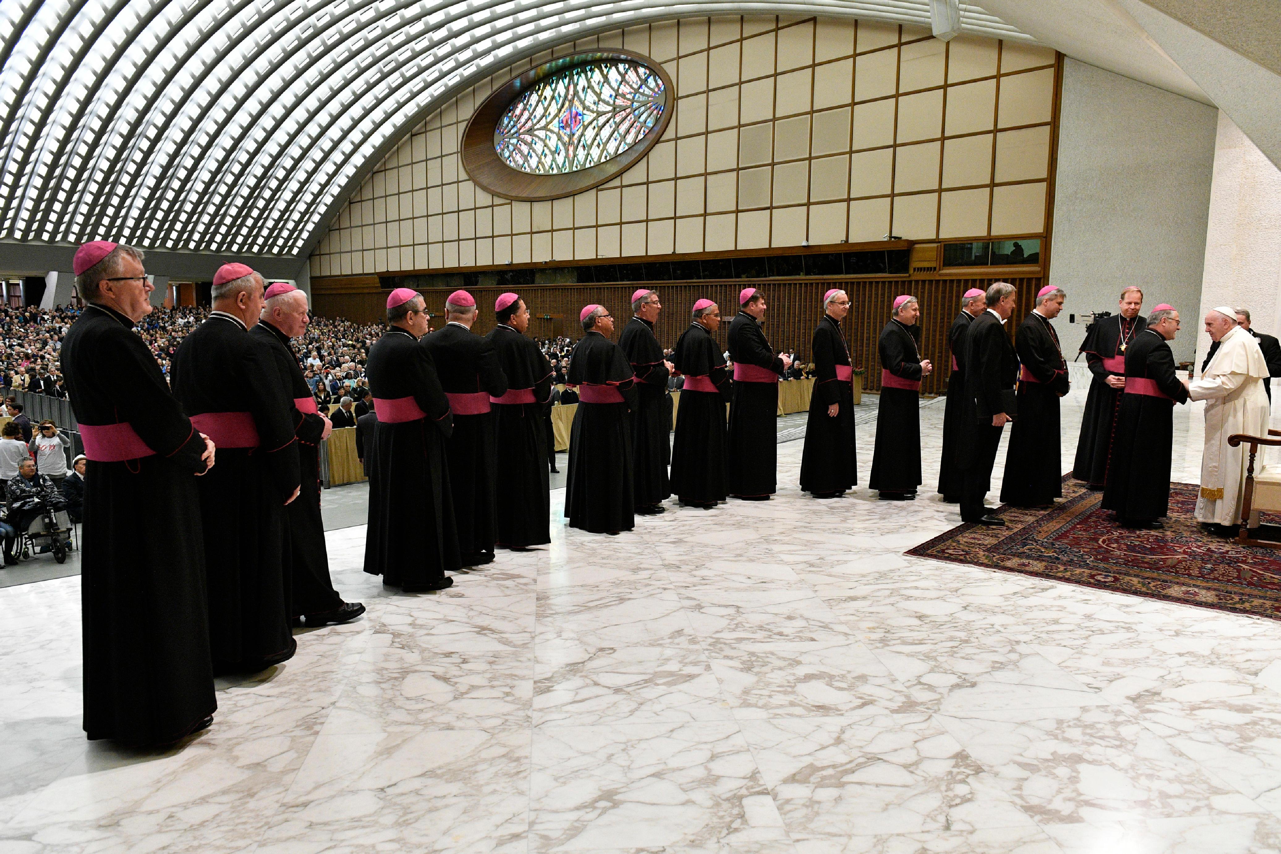 Obispos en cola para saludar al Papa en la audiencia general © Vatican Media