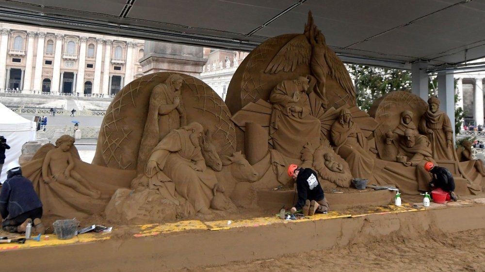 Pesebre de arena de Jesolo, norte de Italia, en el Vaticano © Vatican Media