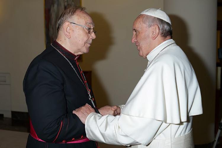 El Cardenal Fernando Sebastián saludando al Santo Padre © Vatican News